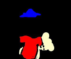 Dotted line man wears blue hat