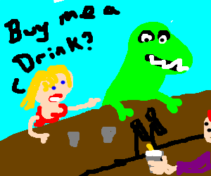 Blonde girl seduces a dinosaur