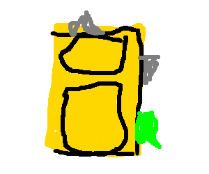 Overstuffed yellow suitcase