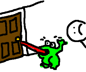 Frog gets tongue stuck in door :(