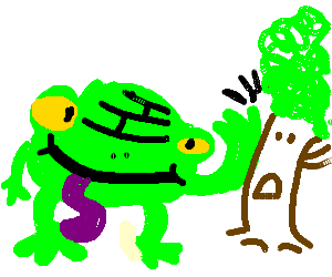 Ugly frog with purple tounge is hitting a tree