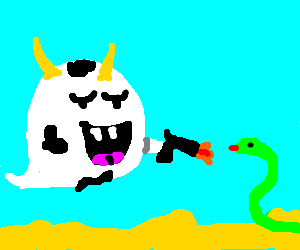 Cowboos shoot a snake
