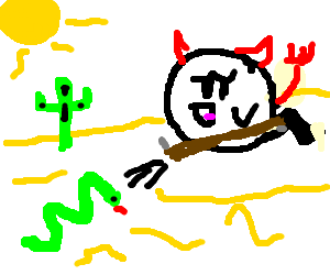 A satanic boo shoots a snake in the desert