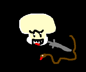 The ghost from mario stabbing a snake