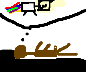 Naked guy dreaming Nyan cat