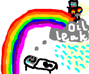 A rainbow robot wet dream