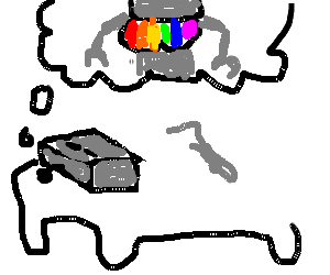 robot has wet dream about rainbow boobular robot