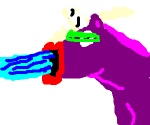 Cybernetic purple unicorn fires mouth cannon