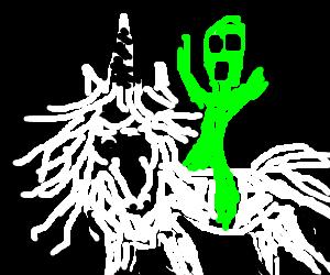 alien on a unicorn
