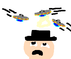 three miniature UFOs flying around a man's head