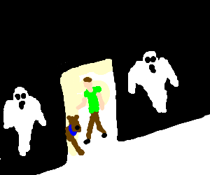 Two ghosts plan their attack.