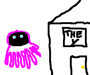 Pink Squid in black mask goes to the y