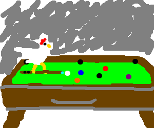 The rooster is on the billiard table again.