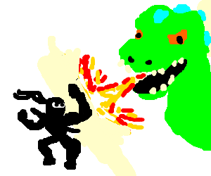 Visible ninja defies Reptar's fire breath