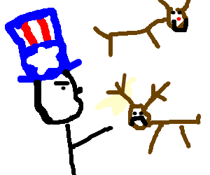 Uncle Sam hates on Dasher.  Rudolph is still ok
