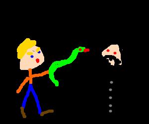 Blue-eyed guy whacks his snake in Rasputins face