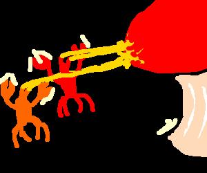 crab people shoot giant mushroom with laser eyes