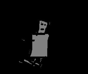 Robot on his knees, prepares to die