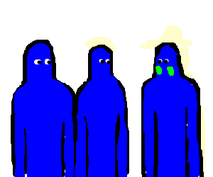 2 blue men puzzled why the 3rd has green cheeks