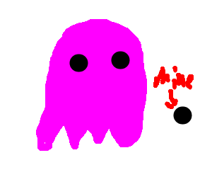Pink Pacman ghost says black dot is his!!!