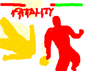 Red man decapitates Yellow man in M.K. fatality.