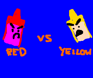 red and yellow crayons prepare to do battle
