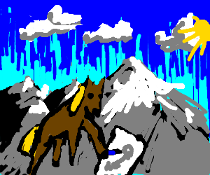 horse drawing on mountain