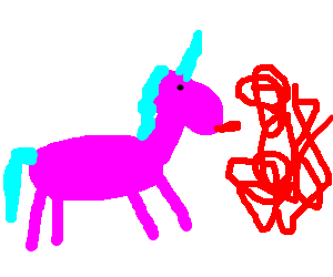 Pink unicorn tries to lick a red scribble
