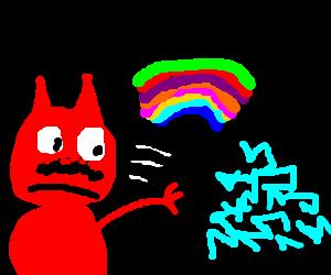 Moustache Devil throws rainbow to electric pile