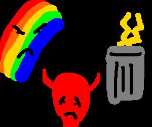 Satan throws lightning away for rainbows