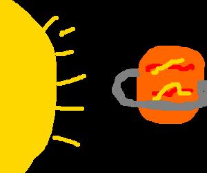 solar rays onto saturns apron