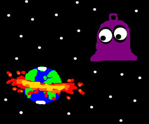 Space purple bell watches Earth exploding