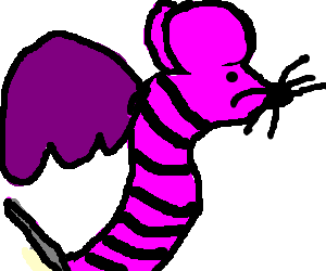 Pink Mouseworm with purple wings