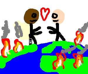 Interracial love on a burning Earth