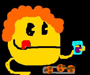 Ginger Pacman enjoys purple koolaid and cookies