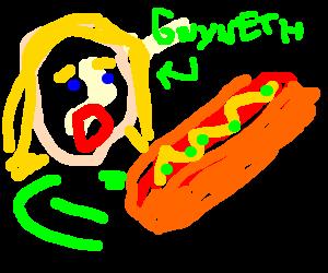 Gwyneth Paltrow binge eating off a large dog
