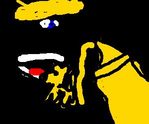 Blond man eating mustard dog