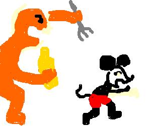 Orange man wants mustard to eat mickey mouse