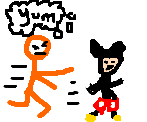 hungry orange man chases mickey mouse