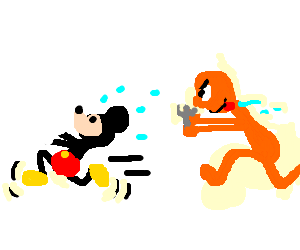 orange hungry man chases mickey mouse