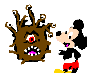 Beholder trying to eat Mickey Mouse