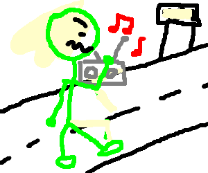 Angry green man cant jam it home