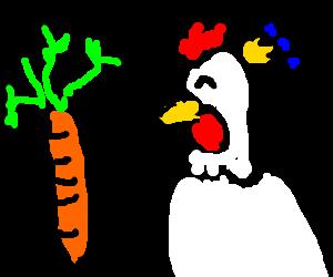King Chicken enjoying fresh radishes