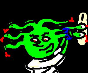 Medusa combing her hair.