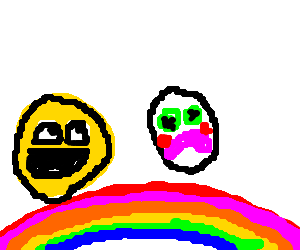 rainbow bridge in emoticon land