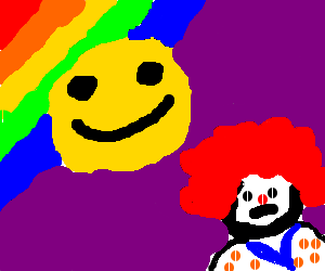Smiley face enjoys rainbow, clown is saddened