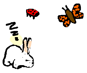 Bunnies dream of ladybugs and butterflies