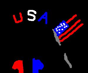 Patriotic man holding an american flag
