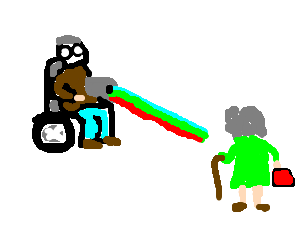 Old man in wheelchair shoots lasers @ old person