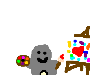 little grey man painting
